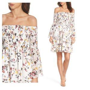 Off Shoulder Babydoll Dress in Floral Print